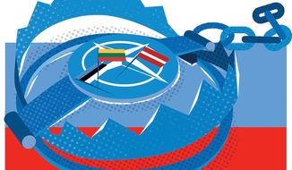 Illustration on protecting the Baltic nations by Linas Garsys/The Washington Times