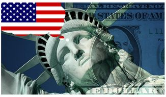 Illustration on elements of the American dream by Alexander Hunter/The Washington Times