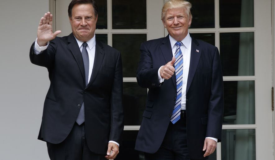 President Donald Trump stands with Panamanian President Juan Carlos Varela at the White House in Washington, Monday, June 19, 2017. (AP Photo/Evan Vucci)