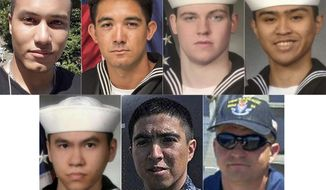 This combination of undated photos released Monday, June 19, 2017, by the U.S. Navy shows the seven U.S. sailors who died in a collision between the USS Fitzgerald and a container ship off Japan on Saturday, June 17, 2017. From top left to right, Personnel Specialist 1st Class Xavier Alec Martin, 24, from Halethorpe, Md.; Yeoman 3rd Class Shingo Alexander Douglass, 25, from San Diego, Calif.; Gunner's Mate Seaman Dakota Kyle Rigsby, 19, from Palmyra, Va.; and Fire Controlman 2nd Class Carlos Victor Ganzon Sibayan, 23, from Chula Vista, Calif.  From bottom left to right,  Sonar Technician 3rd Class Ngoc T Truong Huynh, 25, from Oakville, Conn.; Gunner's Mate 2nd Class Noe Hernandez, 26, from Weslaco, Texas; and Fire Controlman 1st Class Gary Leo Rehm Jr., 37, from Elyria, Ohio.  (U.S. Navy via AP)