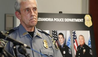 Alexandria, Va. Police Chief Michael Brown listens during a news conference at Police Headquarters in Alexandria, Va., Monday, June 19, 2017, about the June 14 shooting at a baseball field in Alexandria. (AP Photo/Jacquelyn Martin)