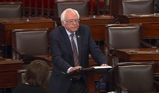 In this image from Senate Television video, Sen. Bernie Sanders, I-Vt., pauses as he speaks Wednesday, June 14, 2017, on the Senate floor at the Capitol in Washington, about the shooting at the Republican congressional baseball practice. In remarks made on June 22, Mr. Sanders told an audience that the U.S. is headed in an authoritarian direction under President Trump. (Senate Television via AP) **FILE**