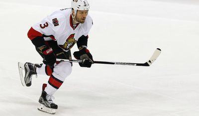 FILE - In this March 31, 2016, file photo, Ottawa Senators' Marc Methot plays against the Minnesota Wild in the first period of an NHL hockey game, in St. Paul, Minn. The Golden Knights could land Methot in their expansion draft on Wednesday, June 22.(AP Photo/Jim Mone, File)