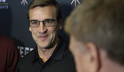 Vegas Golden Knights General Manager George McPhee speaks during a news conference Monday, June 19, 2017, in Las Vegas. McPhee answered questions about his hockey team and the NHL's expansion draft. (AP Photo/John Locher)