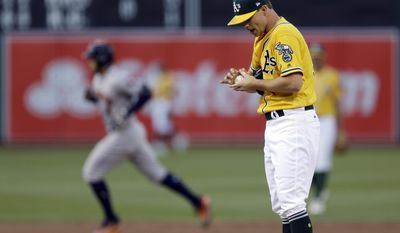 Oakland Athletics pitcher Sonny Gray, right, waits for Houston Astros' George Springer to run the bases after Springer hit a home run during the first inning of a baseball game Tuesday, June 20, 2017, in Oakland, Calif. (AP Photo/Ben Margot)