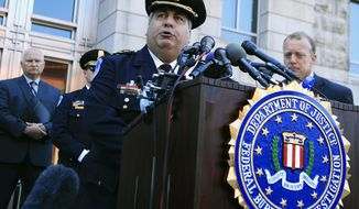 United States Capitol Police Chief Matthew Verderosa, with Federal Bureau of Investigation Washington Field Office, Special Agent in Charge Timothy Slater, back right, speaks to reporters outside the FBI Washington Field Office, Wednesday, June 21, 2017 in Washington, during a news conference about the investigative findings to date in the shooting that occurred at Eugene Simpson Stadium Park in Alexandria, Va. on Wednesday, June 14, 2017. (AP Photo/Manuel Balce Ceneta)