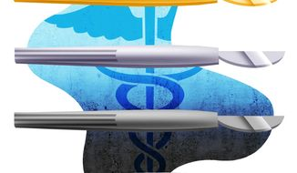 Illustration on the decline of medical care quality by Alexander Hunter/The Washington Times