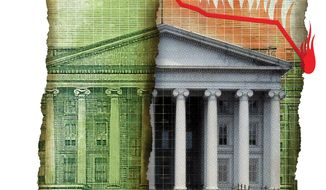 Illustration on the devaluation of U.S. bonds by Linas Garsys/The Washington Times