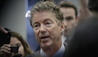 Sen. Rand Paul, R-Ky., speaks to reporters at the Capitol after Republicans released their long-awaited bill to scuttle much of President Barack Obama's Affordable Care Act, at the Capitol in Washington, Thursday, June 22, 2017. He is one of four GOP senators to say they are opposed it but are open to negotiations, which could put the measure in immediate jeopardy. (AP Photo/J. Scott Applewhite) )
