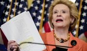 Sen. Debbie Stabenow, D-Mich., holds up a copy of the proposed Senate Republican health bill as she discusses the effects of the proposed Republican healthcare legislation on families at a news conference on Capitol Hill in Washington, Thursday, June 22, 2017. Senate Republicans would cut Medicaid, end penalties for people not buying insurance and erase a raft of tax increases as part of their long-awaited plan to scuttle Barack Obama's health care law. (AP Photo/Andrew Harnik)