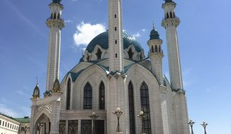 In this photo taken on Wednesday, June 21, 2017 a view of the Qolsharif Mosque, in Kazan, Russia. Fans visiting the exotic city of Kazan get to experience a little bit of everything during the Confederations Cup: rich history, diverse culture, magnificent buildings, and even a beach. (AP Photo/Tales Azzoni)