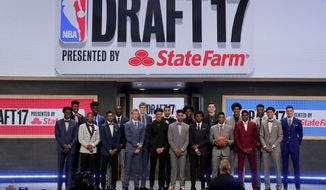 Top draft prospects gather for a group photo before the NBA basketball draft, Thursday, June 22, 2017, in New York. (AP Photo/Julie Jacobson)