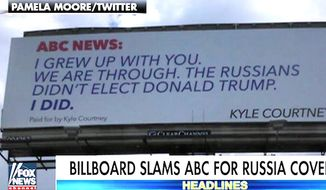 Kyle Courtney of Boerne, Texas, purchased two months of signage along a highway to blast ABC News for its coverage of the Trump administration. (Fox News screenshot)