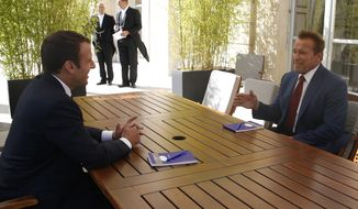 French President Emmanuel Macron, left, speaks with former US actor and founder of the R20 climate action group Arnold Schwarzenegger Friday, June 23, 2017 at the Elysee Palace in Paris. (Geoffroy van der Hasselt, Pool via AP)
