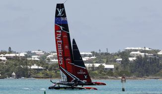 Emirates Team New Zealand sails during a training session Wednesday, June 21, 2017, in Hamilton, Bermuda. Emirates Team New Zealand faces Oracle Team USA in more America's Cup sailing competition this weekend. (AP Photo/Gregory Bull)