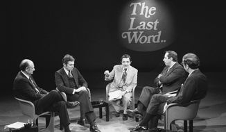 FILE--This photo from Nov. 8, 1977 shows reporter Gabe Pressman, center, hosting a televised New York mayoral debate with candidates Edward Koch, far left, Barry Farber, second from left, Mario Cuomo, second from right, and Roy Goodman. Pressman, an intrepid, Emmy-winning journalist who still relished going to work at the age of 93, died early Friday, June 23, 2017 at a Manhattan hospital. (AP Photo/Ron Frehm, File)