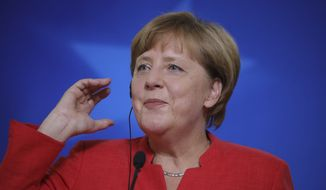 German Chancellor Angela Merkel speaks during a media conference at an EU summit in Brussels on Friday, June 23, 2017. European Union leaders met in Brussels on the final day of their two-day summit to focus on ways to stop migrants crossing the Mediterranean and how to uphold free trade while preventing dumping on Europe's markets. (AP Photo/Olivier Matthys)