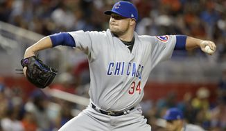 Chicago Cubs starting pitcher Jon Lester (34) delivers during the first inning of a baseball game against the Miami Marlins, Saturday, June 24, 2017, in Miami. (AP Photo/Lynne Sladky)