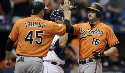 Baltimore Orioles' Trey Mancini (16) high-fives Mark Trumbo after hitting a two-run home run off Tampa Bay Rays relief pitcher Jumbo Diaz during the seventh inning of a baseball game Saturday, June 24, 2017, in St. Petersburg, Fla. (AP Photo/Chris O'Meara)