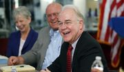 Health and Human Services Secretary Tom Price, M.D., laughs at a joke as introductions are made during a roundtable with business leaders at Colonial Flag in Sandy, Utah, on Monday, June 26, 2017. (Ravell Call/The Deseret News via AP)
