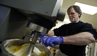 FILE - In this March 10, 2014 file photo, Masterpiece Cakeshop owner Jack Phillips cracks eggs into a cake batter mixer inside his store in Lakewood, Colo. The Supreme Court is taking on a new clash between gay rights and religion in a case about a wedding cake for a same-sex couple in Colorado. The justices said Monday, June 26, 2017, they will consider whether a baker who objects to same-sex marriage on religious grounds can refuse to make a wedding cake for a gay couple.  (AP Photo/Brennan Linsley, File)