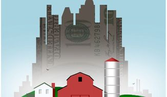 Illustration on the coming need to move to the cities in order to prosper by Alexander Hunter/The Washington Times