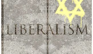 Illustration n the anti-semitism of the new liberal by Alexander Hunter/The Washington Times