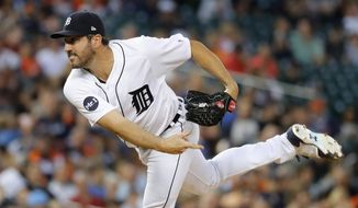 Detroit Tigers pitcher Justin Verlander follows through on a delivery to the Kansas City Royals during the sixth inning of a baseball game in Detroit, Tuesday, June 27, 2017. (AP Photo/Paul Sancya)