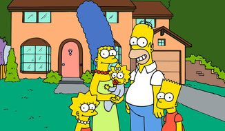 """""""The Simpsons"""" TV series - Shown from left: Lisa, Marge, Maggie, Homer, Bart (Courtesy Fox)"""