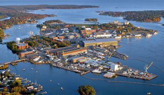 This October 2015 handout photo provided by the Portsmouth Naval Shipyard, shows the shipyard base in Kittery, Maine. (Portsmouth Naval Shipyard via AP)  **FILE**