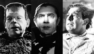 Classic versions of Frankenstein's Monster, Dracula and the Wolfman.