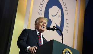 In this May 22, 2018, file photo, President Donald Trump speaks at the Susan B. Anthony List 11th Annual Campaign for Life Gala at the National Building Museum in Washington. (AP Photo/Andrew Harnik) ** FILE **