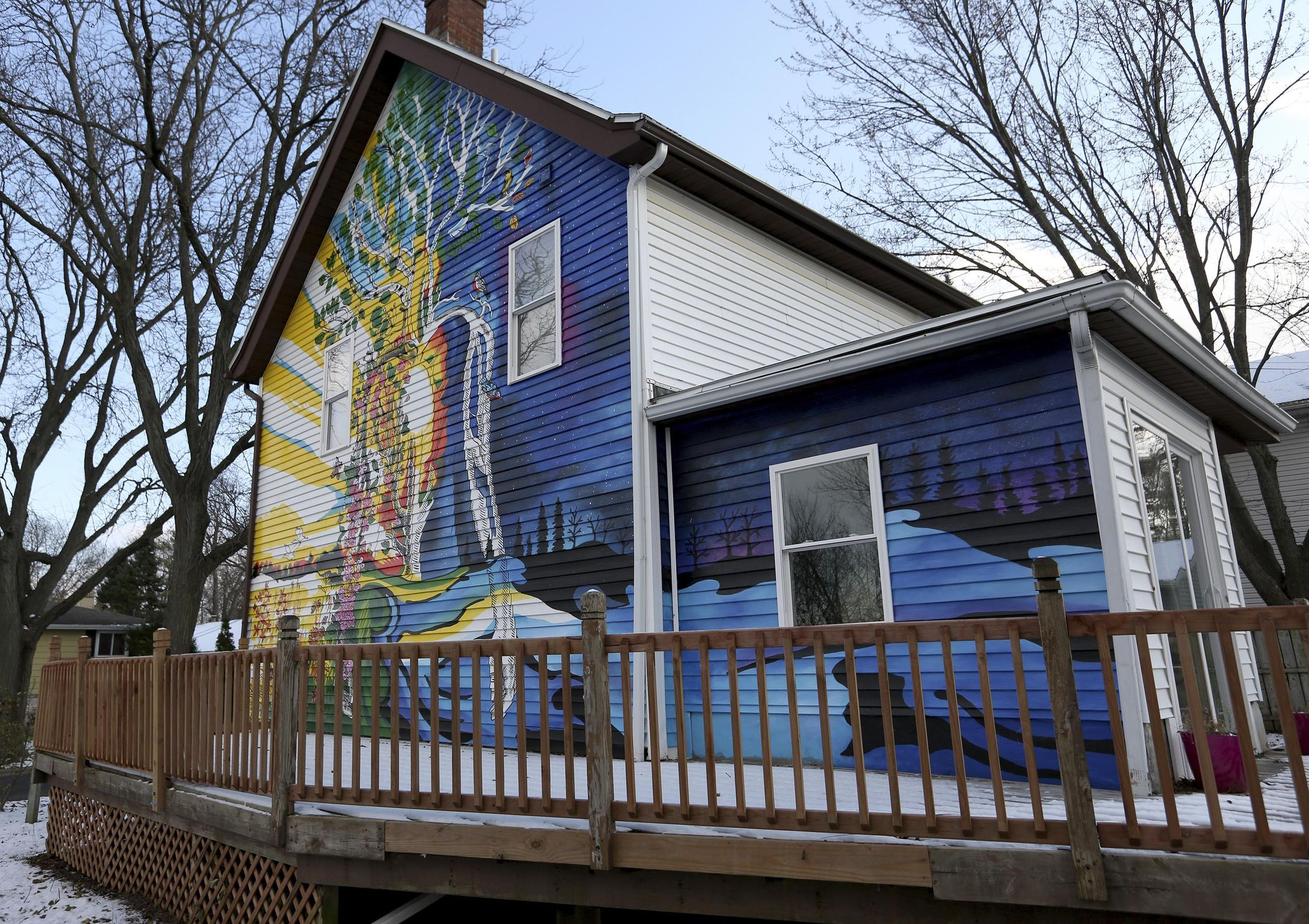 Wisconsin woman hires artist to paint mural on her house