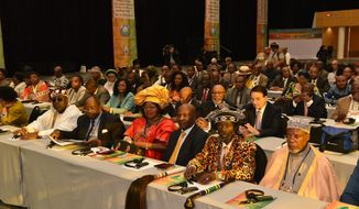 Dozens of traditional rulers, such as Chief Mwanta Ishima Sanken'i VI of Zambia (front row, second from right), attended the Africa Summit in Cape Town in November. (Photo Credit: UPF-INTERNATIONAL)