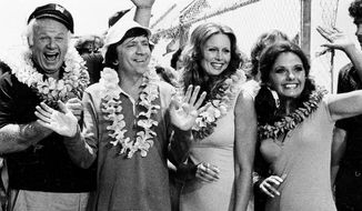"The cast of ""Gilligan's Island"" poses during filming of a two-hour reunion show, ""The Return from Gilligan's Island,"" in Los Angeles, Ca., Oct. 2, 1978.  From left are, Russell Johnson, the professor; Jim Backus as Thurston Howell III; Natalie Schafer, Mrs. Howell III; Alan Hale Jr., the skipper; Bob Denver, as Gilligan; Judith Baldwin, as Ginger, the only new cast member; and Dawn Wells, as Mary Ann.  It is the first new episode since the series left the networks 11 years ago.  (AP Photo/Wally Fong)"