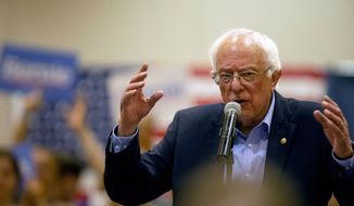 Democratic presidential candidate Bernie Sanders speaks to audience members during a campaign stop at Grand River Center in Dubuque, Iowa, Sunday, June 9, 2019. (Eileen Meslar/Telegraph Herald via AP)