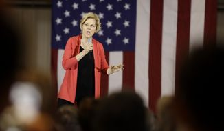 In this June 5, 2019, photo, Democratic presidential candidate Sen. Elizabeth Warren, D-Mass., speaks at the RV/MH Hall of Fame and Museum in Elkhart, Ind. Bernie Sanders has fallen to second place in most polls in the weeks since Joe Biden entered the presidential race. But Warren is emerging as another threat to his appeal, thanks in part to her populist proposals that at time go further left than Sanders on his key issues. (AP Photo/Darron Cummings)