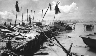 In this November 1943 file photo, bodies and wrecked amphibious tractors litter a battlefield, after U.S. Marines from the 2nd Division forced back the Japanese on Betio island in the Tarawa Atoll, Kiribati.. (AP Photo, File)  **FILE**