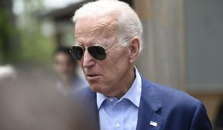 Democratic presidential candidate and former Vice President Joe Biden arrives to speak with reporters outside a restaurant, Sunday, July 7, 2019, in Charleston, S.C. (AP Photo/Meg Kinnard)