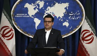 In this May 28, 2019 photo, Iran's Foreign Ministry spokesman Abbas Mousavi speaks at a media conference in Tehran, Iran. (AP Photo/Vahid Salemi) ** FILE **