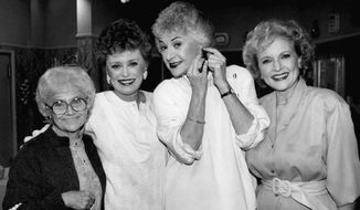 """**ADDS DATE OF DEATH**FILE** In this Dec. 25, 1985 file photo, four veteran actresses, from left, Estelle Getty, Rue McClanahan, Bea Arthur and Betty White,  from the television series """"The """" Golden Girls"""" are shown during a break in taping in Hollywood.  Actress Estelle Getty has died at the age of 84. Her son, Carl Gettleman, says she died early Tuesday, July 22, 2008 at home in Los Angeles. (AP Photo/Nick Ut, file)"""