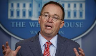 In this Oct. 17, 2019, file photo, then-acting White House Chief of Staff Mick Mulvaney speaks in the White House briefing room in Washington. (AP Photo/Evan Vucci, File)