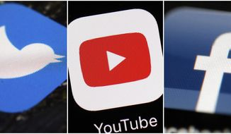 This combination of images shows logos for companies from left, Twitter, YouTube and Facebook. (AP Photos/File)