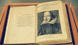 ** ADVANCE FOR THE WEEKEND OF JULY 26-27 **  Microsoft billionaire Paul Allen has loaned his First Folio edition of the collected plays of William Skakespere to the Oregon Shakespeare Festival in Ashland, Ore., shown here July 18, 2003, in a special display case locked in a room with a video surveillance camera and electronic alarm sytem. Widely considered the most important single book in English literature, the volume is a sacred relic for many Shakespeare scholars and fans. (AP Photo/Jeff Barnard)