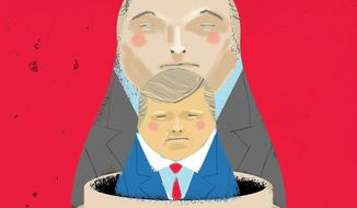 Illustration on relations between Putin and Trump by Linas Garsys/The Washington Times