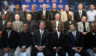 ** ADDS NAMES OF PLAYERS AND MVP YEARS** Members of the Super Bowl Most Valuable Players pose for a photograph in Detroit Friday, Feb. 3, 2006. Super Bowl XL will feature the AFC Champion Pittsburgh Steelers against the NFC Champion Seattle Seahawks. Front row, from left to right: Emmitt Smith ('94), Franco Harris ('75), Lynn Swann ('76), Troy Aikman ('93), Desmond Howard ('97), Kurt Warner ('00) and Dexter Jackson ('03). Center row, from left to right: Marcus Allen ('84), Bart Starr ('68), Roger Staubach ('72), Ottis Anderson ('91), Larry Csonka ('74), Doug Williams ('88), Len Dawson ('70) and Mark Rypien ('92). Back row, from left to right: Jim Plunkett ('81), Terrell Davis ('98), Ray Lewis ('01), Fred Biletnikoff ('77), Joe Namath ('69), NFL Commissioner Paul Tagliabue, Randy White ('78), Chuck Howley ('71), John Riggins ('83) and Steve Young ('95).     (AP Photo/Chuck Burton)