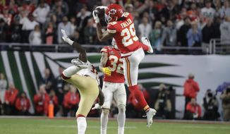 Kansas City Chiefs' Kendall Fuller (29) intercepts the ball against the San Francisco 49ers during the second half of the NFL Super Bowl 54 football game Sunday, Feb. 2, 2020, in Miami Gardens, Fla. The Kansas City Chiefs won 31-20. (AP Photo/Wilfredo Lee) **FILE**