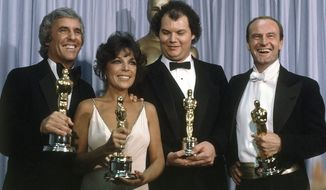 Burt Bacharach shows with best song winners ?Arthur?s Theme? at the 54th Annual Academy Awards in Los Angeles on March 29, 1982. Oscar for best song went to ?Arthur?s Theme? from movie ?Arthur?. Others with him are Carole Bayer Sager, Christopher Cross and Peter Allen. (AP Photo/Reed Saxon)