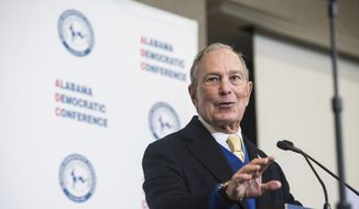 Democratic presidential candidate Mike Bloomberg speaks during the Alabama Democratic Conference Luncheon at Embassy Suites in Montgomery, Ala., on Saturday, Feb. 8, 2020. (Montgomery Advertiser via AP)
