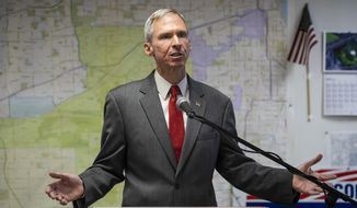U.S. Rep. Dan Lipinski concedes the Democratic primary election to Progressive Marie Newman during a press conference at his election headquarters in Oak Lawn, Ill., Wednesday afternoon, March 18, 2020. (Ashlee Rezin Garcia/Chicago Sun-Times via AP)